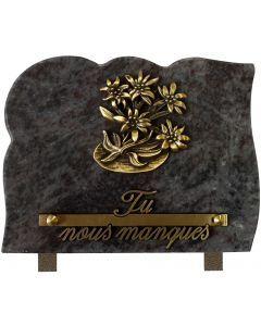 Plaque bronze edelweiss 15x20cm