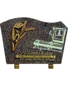 Plaque bronze épis de blé et gravure de moissonneuse 17x25cm