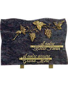 Plaque bronze grappes de raisin 20x30cm