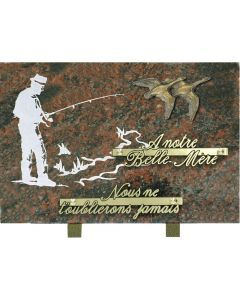 Plaque bronze gravure pêcheur et bronze oies 20x30cm