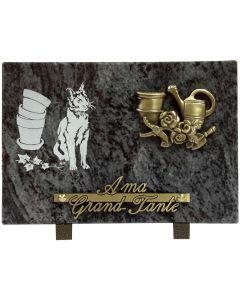 Plaque bronze jardin et gravure de chat et pots 17x25cm