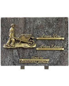 Plaque bronze jardinier avec une brouette 25x35cm