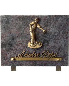 Plaque bronze joueur de pétanque 15x20cm