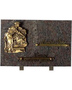 Plaque bronze joueur de pétanque 20x30cm