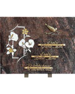 Plaque bronze oiseaux