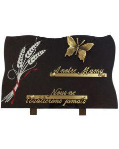Plaque bronze papillon et gravure épis de blé avec ruban paillettes 20x30cm