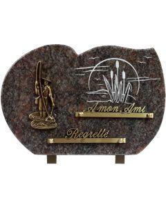 Plaque bronze pêcheur et gravure joncs 20x30cm