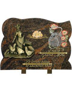 Plaque bronze poules et paysanne avec gravure panier 25x35cm