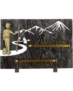 Plaque bronze randonneur et gravure montagnes 17x25cm