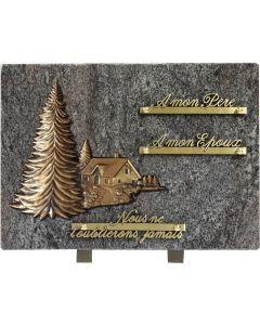 Plaque bronze sapin et chalet 25x35cm