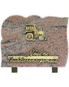 Plaque bronze tracteur 15x20cm