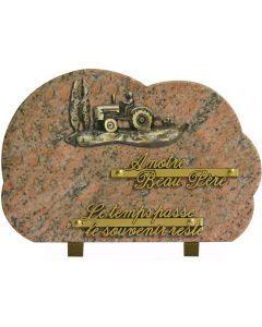 Plaque bronze tracteur champs 20x30cm