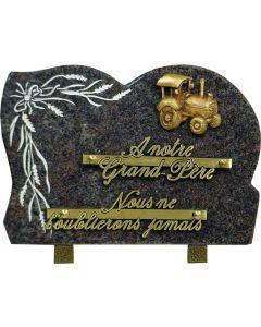 Plaque bronze tracteur et gravure blé 17x25cm