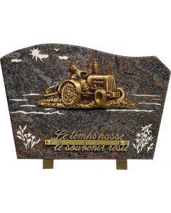 Plaque bronze tracteur et gravure champ 20x30cm