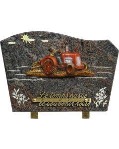 Plaque bronze tracteur et gravure champ en couleur 20x30cm