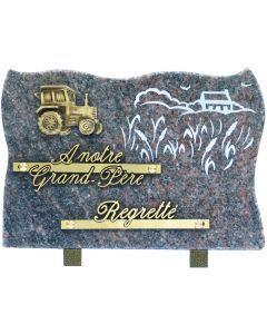 Plaque bronze tracteur et gravure ferme 17x25cm