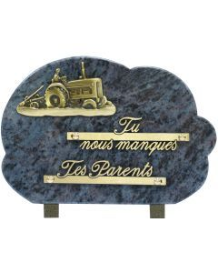 Plaque bronze tracteur labour 17x25cm