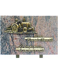 Plaque bronze tracteur labour 20x30cm