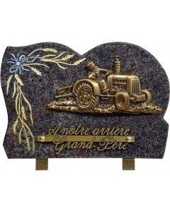 Plaque bronze tracteur labour et gravure blé 17x25cm