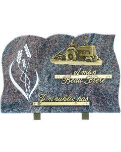 Plaque bronze tracteur labour et gravure épis de blé 20x30cm