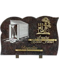 Plaque bronze vélo et gravure cabane à outils 20x30cm