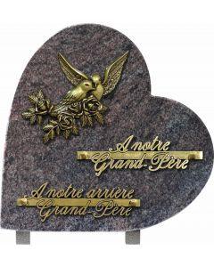 Plaque coeur bronze branche colombes