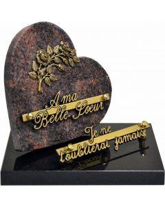 Plaque coeur bronze roses