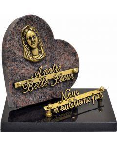 Plaque coeur bronze vierge