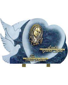 Plaque coeur et colombes bronze Vierge Marie