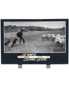 Plaque décor berger et mouton noir et blanc 20x30cm