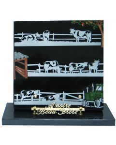 Plaque décor campagne vaches en couleur 25x25cm