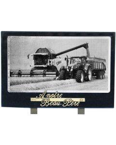 Plaque décor moissonneuse noir et blanc 20x30cm
