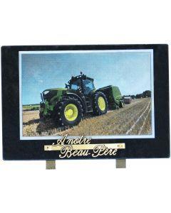 Plaque décor tracteur dans un champ couleur 20x30cm