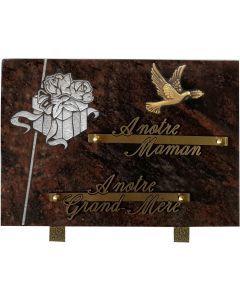 Plaque décors blanchis bronze colombe.