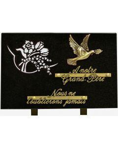 Plaque décors blanchis bronze colombe