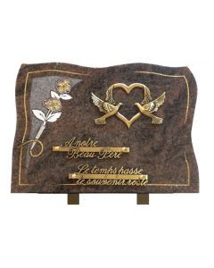 Plaque forme bronze coeur colombe