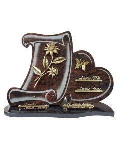 Plaque forme bronze fleurs papillon