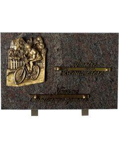 Plaque funéraire bronze cycliste 20x30cm