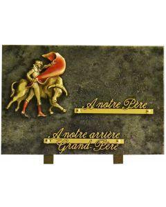 Plaque funéraire bronze de corrida en couleur 20x30cm