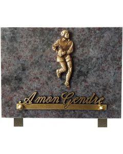 Plaque funéraire bronze joueur de rugby 15x20cm