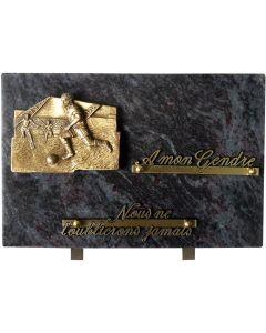 Plaque funéraire bronze joueurs de foot 20x30cm
