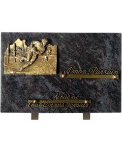 Plaque funéraire bronze joueurs de rugby 20x30cm