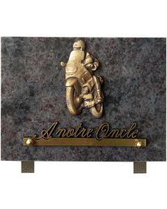 Plaque funéraire bronze moto 15x20cm