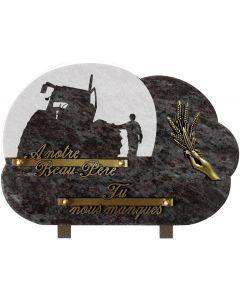 Plaque funéraire décor campagne 20x30cm