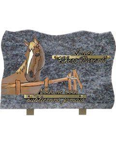 Plaque funéraire décor cheval 17x25cm