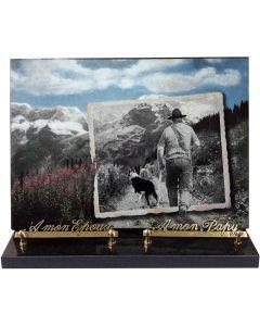 Plaque funéraire décor montagne 25x35cm