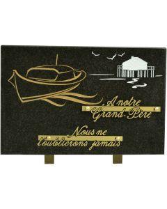 Plaque funéraire gravure bateau et maison 20x30cm