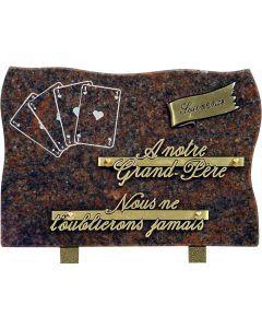 Plaque funéraire gravure cartes à jouer 17x25cm