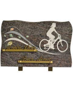 Plaque funéraire gravure cycliste femme 20x30cm