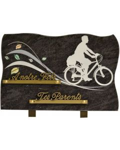 Plaque funéraire gravure cycliste homme 20x30cm